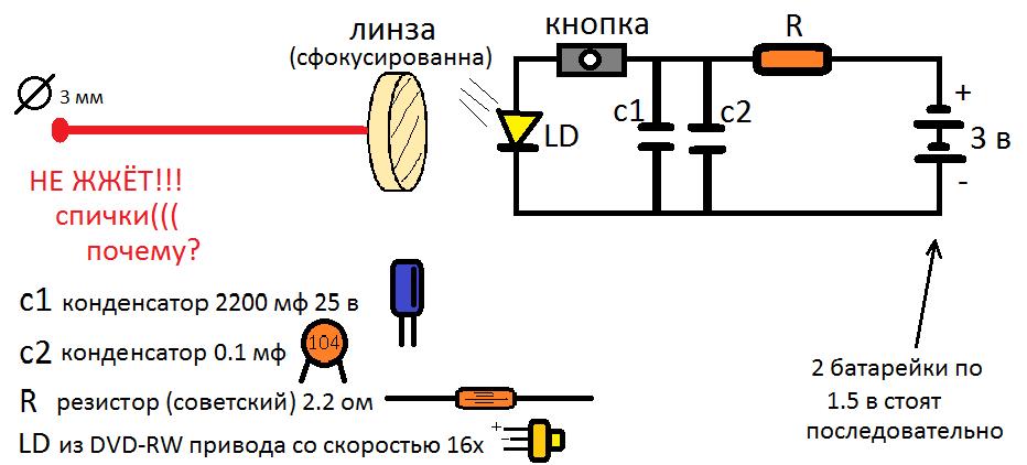 Схема лазера из dvd привода своими руками